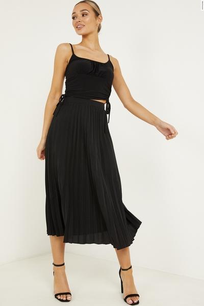 Black Satin Pleat Midi Skirt